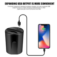 Car Wireless Charger Cup Charge Stand Charging Pad with USB Output for Smartphone GDeals