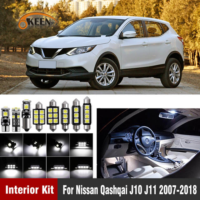 10pc Canbus Car LED Bulbs For Nissan Qashqai J10 J11 2007 2018 Led Interior Light Reading Map Dome Light Kit