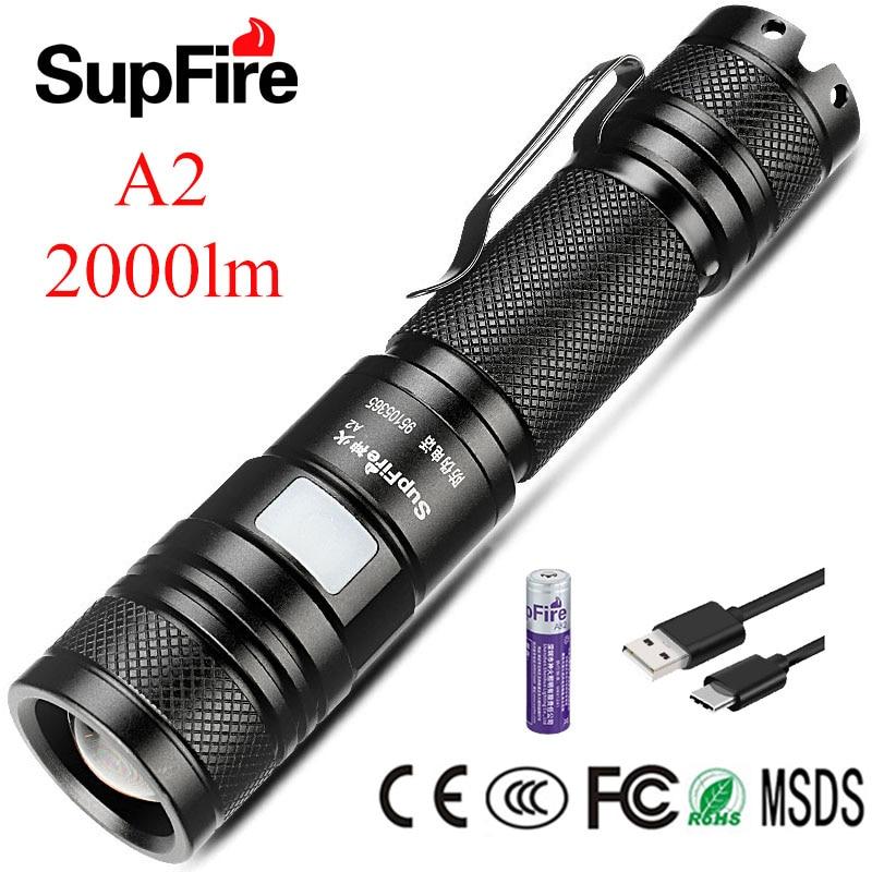Supfire Zoom Flashlight Linterna LED Mini Torch Light 2000lm Lanterna A2 18650 Flash Light