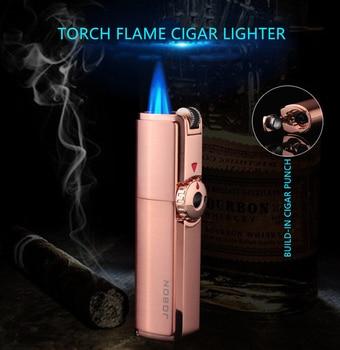 Jobon тройной фонарь, зажигалка 3 Jet, газовая зажигалка для сигар, турбо, ветрозащитная, мощный металлический распылитель, газовая зажигалка, аксессуары CL017