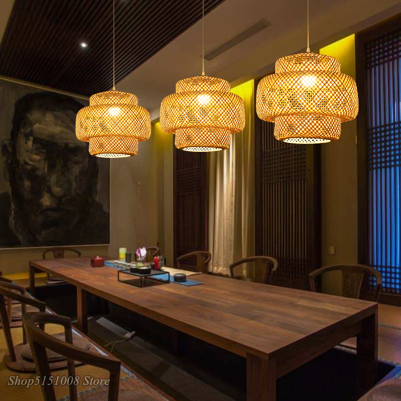 LED Pendant Lights New Chinese Bamboo Weaving /Rattan Weaving Hanging Lamps Living Room Hotel Dinning Room Home Decor Fixtures