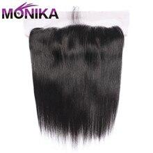 Monika saç cepheler perulu düz Frontal İnsan saç dantel Frontal kapatma 13x4 kulak için kulak dantel kapatma Frontal olmayan remy saç