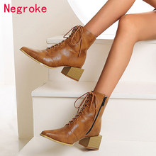 2020 PU Leather Women Ankle Boots Autumn Winter Lace Up Street Style Heeled Pointed Toe Block Heels Women Boots Zapatos Mujer(China)