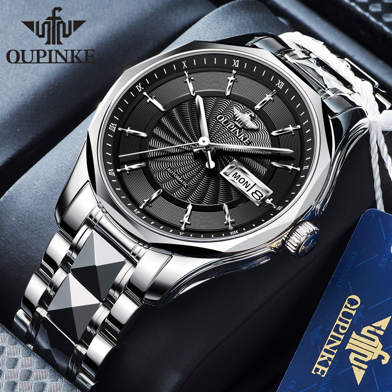 OUPINKE Men Watch Top Brand Business Lxurury Tungsten steel Waterproof MIYOTA  Auto Mechanical watches Gifts for Male Collect 3