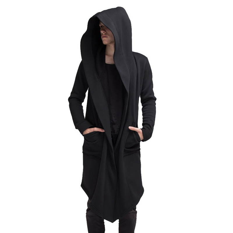 Vogue Nice Men Fashion Hooded Solid Trench Coat Autumn Men Long Jacket Cardigan Long Sleeve Hoody Outwear Fasion Streetwear