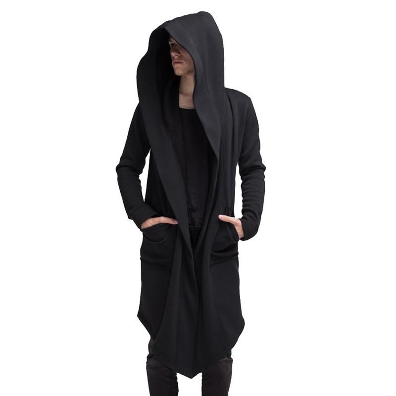 Vogue Nice Men Fashion Hooded Solid Trench Coat Autumn Men Long Jacket Cardigan Long Sleeve Hoody Outwear Fasion Streetwear