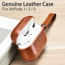 Étui en cuir de vache véritable pour AirPods Pro, étui de luxe rétro pour écouteurs Bluetooth 3/2/1