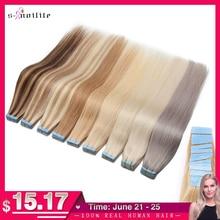 S-noilite 1,5 г/шт. 14-24 ''лента для наращивания Человеческих Волос Клейкая не Реми 20/40 шт. прямой уток кожи натуральный черный коричневый блонд
