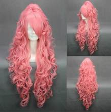 Jewelry Wig Vocaloid Megurine Luka Wig Pink Curly Wigs Clip Ponytail Cosplay Wig Free Shipping(China)