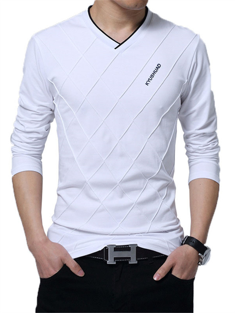 Casual T-Shirt Tops Boyfriend Gift Fitness Long-Sleeve Harajuku Streetwear Slim V-Neck