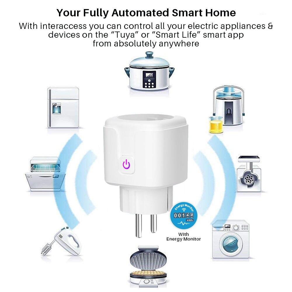 16A WiFi Smart Plug Socket With Power Energy Monitor EU Standard Multi Plug  Tuya APP Control Works With Alexa Google Assistant 2