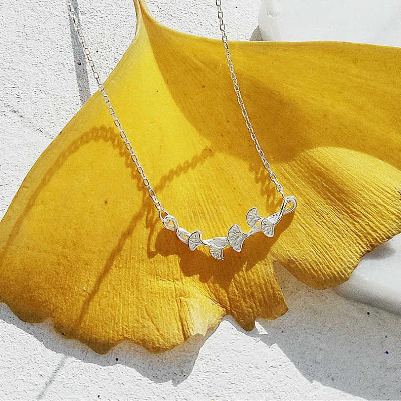Nowy projekt srebrny ręcznie zrobiony kwiatek liść naszyjnik 925 Ginkgo liści naszyjnik biżuteria Choker dla kobiet dziewczyna prezent