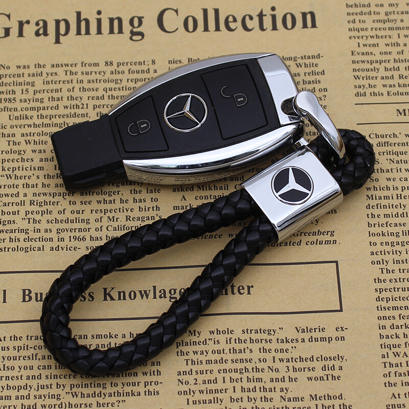 High-grade Leather Car Logo Keychain Zinc Alloy D-type Horseshoe Buckle Design Suitable For Mercedes Benz Car Holder Pendant To Send Loved Ones Friends Best Gift