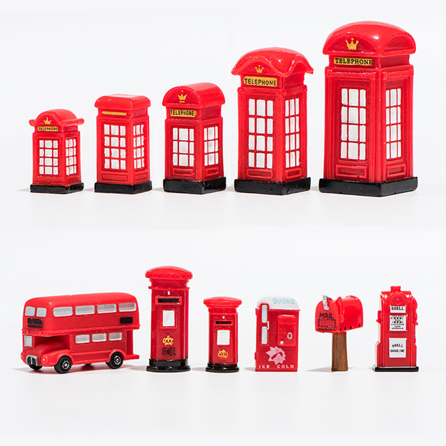 BAIUFOR Vintage Red Mailbox Telephone Booth Bus Figurines & Miniatures Sand Table of Building Model Child kids Toys 6