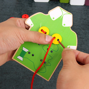 Image 3 - Wooden Toy eyes hands Cooperation shoelace clothes color kids toys Educational wood toys