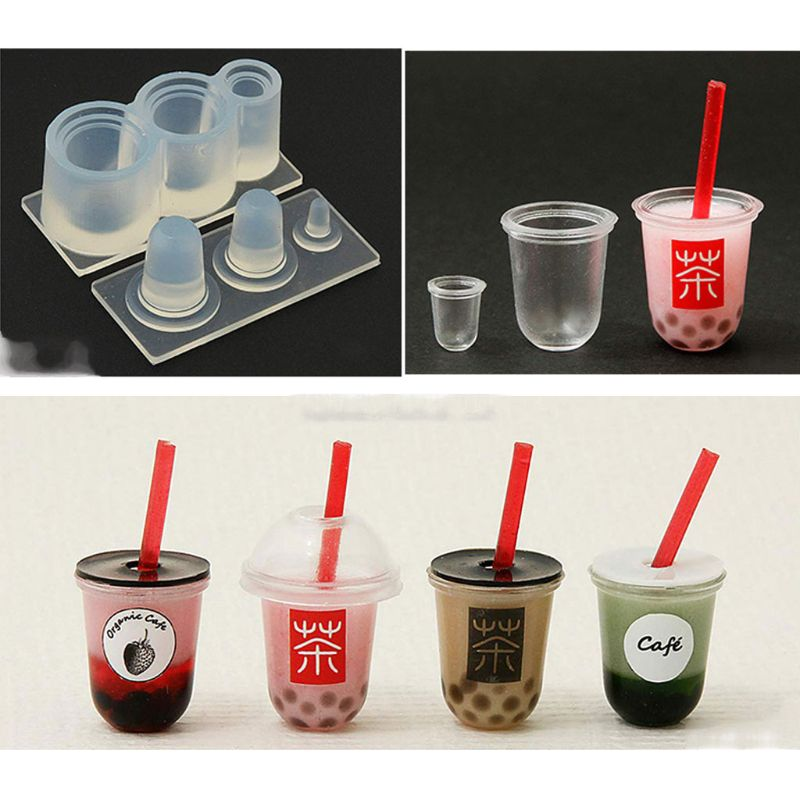 3D Mini Epoxy Mold Milk Tea Cup Bottle Pendant UV Resin Casting Mold Silicone Mold Kit Miniture Food Play Mold Craft Tools
