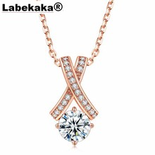 Labekaka Hot selling jewelry simple Water Drop Pendant Necklace zircon plated rose gold accessories(China)