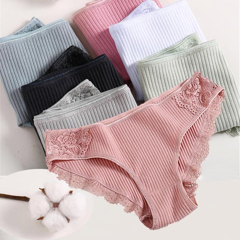 Cotton Panties Women Underwear Sexy Panties Lace Briefs For Female Striped Cotton Panty Lingerie Low Waist Floral Culotte Femme