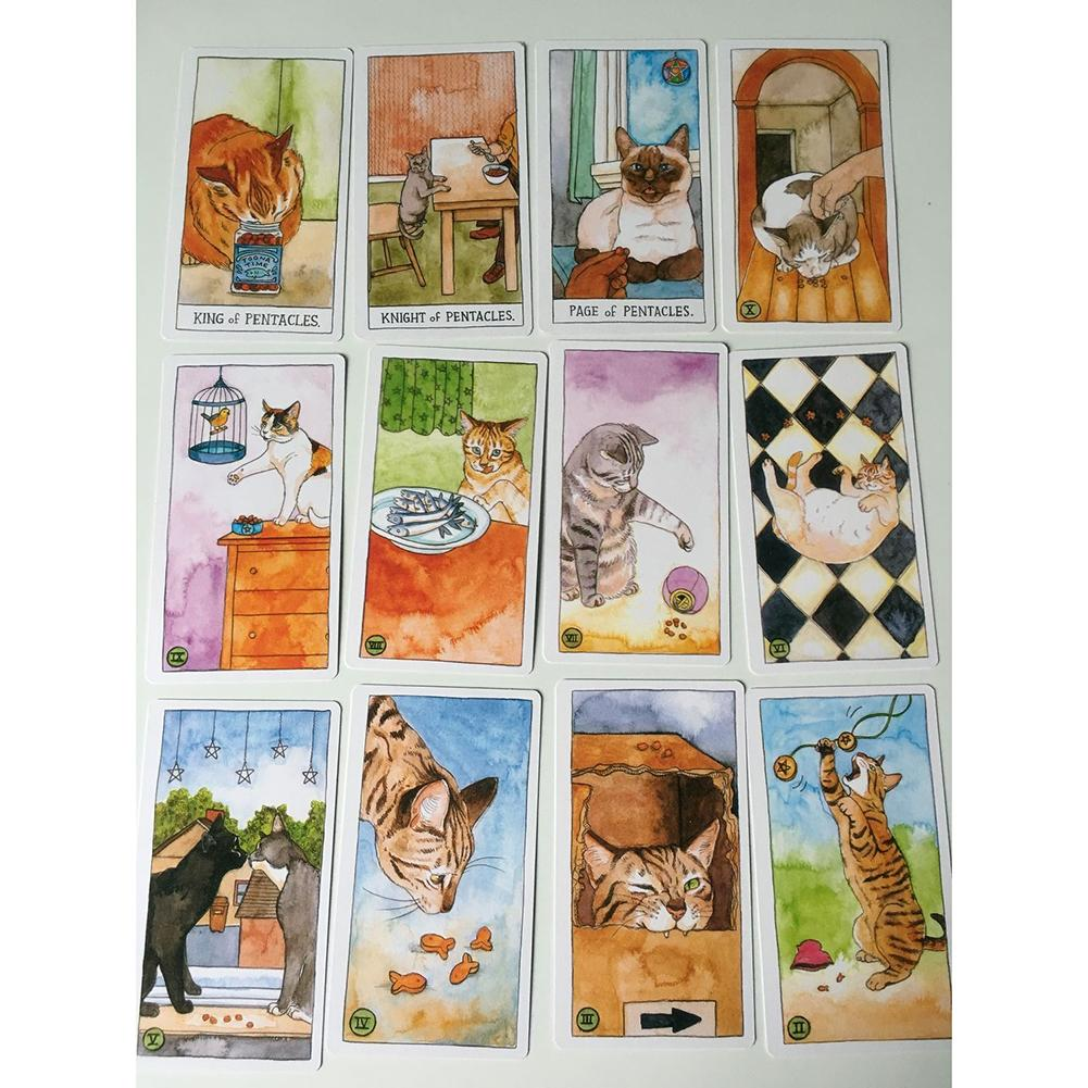 78 Cat Tarot Board Games Cards Not Easy To Wrinkle, Party Game Props Suitable For Tarot Beginners And Enthusiasts