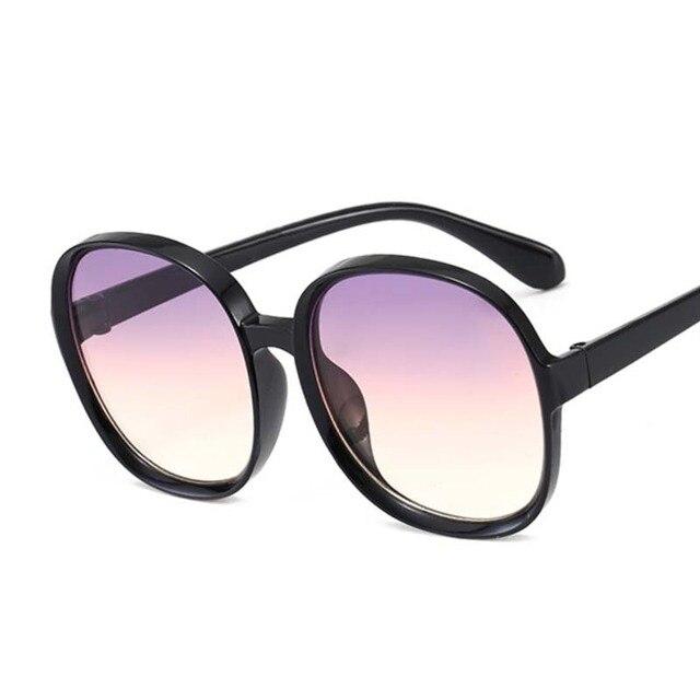 New Round Frame Sunglasses Women Retro Brand Designer Brown Black Oversized Lady Sun Glasses Female Fashion Outdoor Driving 2