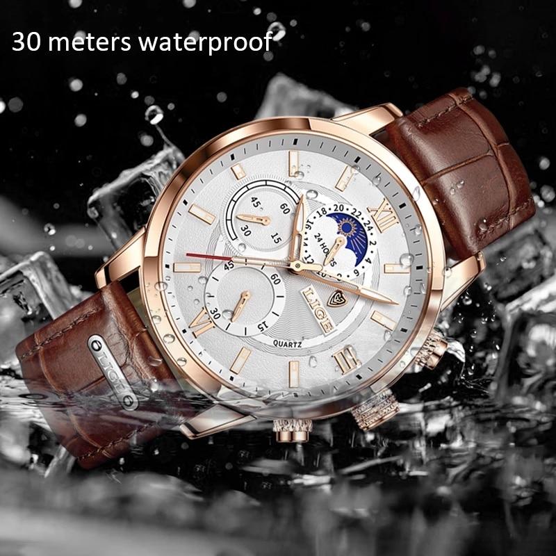 2021 LIGE Watches Mens Top Brand Luxury Clock Casual Leathe 24Hour Moon Phase Men Watch Sport Waterproof Quartz Chronograph+Box 3