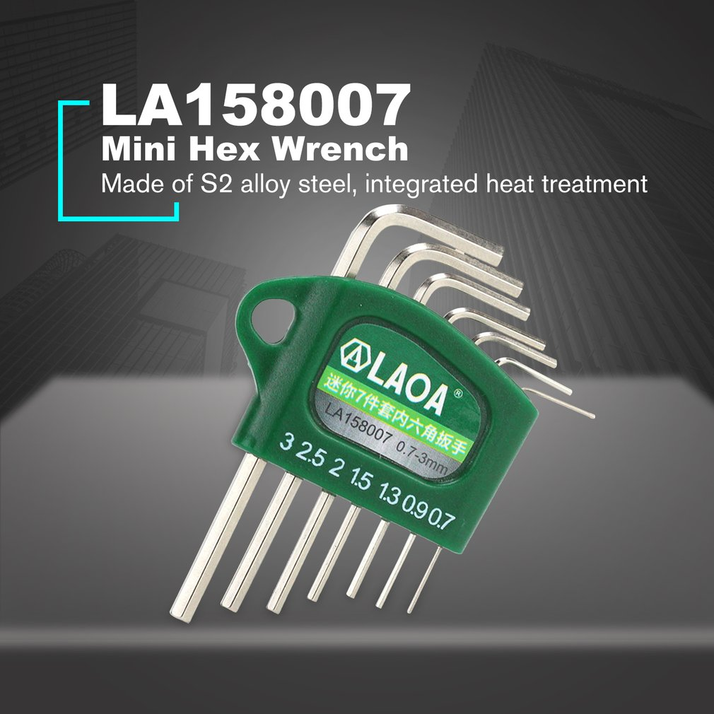 LAOA S2 Alloy Steel Mini Hex Wrench Mini Wrench Set With Mirror Surface Finished S2 Steel For Repair Bicycle Car 7pcs