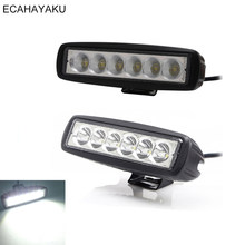 "ECAHAYAKU 20Pcs Car-styling 6"" Single Row 12V 18W LED Work Light Bar Spot/Flood for 4x4 Offroad Boat Truck 4x4 LED Driving Light(China)"