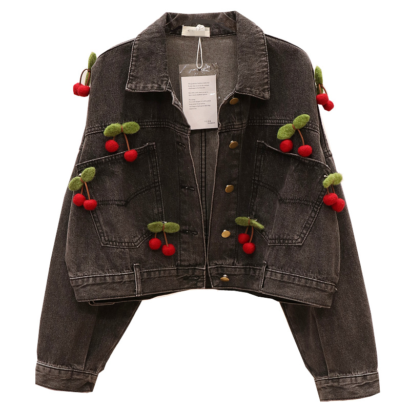 Cherry Patch Jeans Jacket New Spring Autumn Women's Black Denim Jacket Student Basic Coats Female Batwing Street Coats SA349S30 image