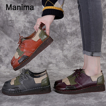 Manima2020NewFashion Women's Handmade Shoes Genuine Leather Flat Lacing Mother Shoes Woman Loafers Soft Comfortable Casual Shoes 2020 new women s handmade shoes genuine leather flat slip on mother shoes woman loafers soft single casual flats shoes women