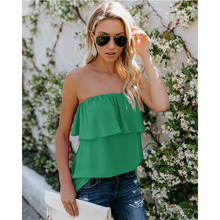 Women Summer Fashion Chiffon Ruffles Sleeveless Tank Tops Flounce Solid Color Strapless Tube Chest Wrap Backless Vest