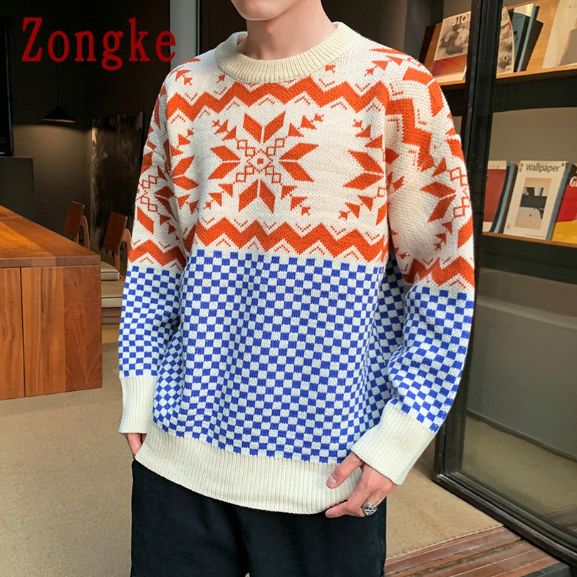 Zongke Korean Style Geometric Winter Sweater Men Coat Pullover Men Sweater Winter Mens Sweaters For 2019 Autumn New Man 5XL