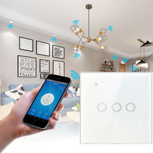 1/2/3 Gang WiFi Smart Light Switch Glass Panel Touch Switch Compatible with Alexa Google Home Smart Wall Switch 10A 100-250V