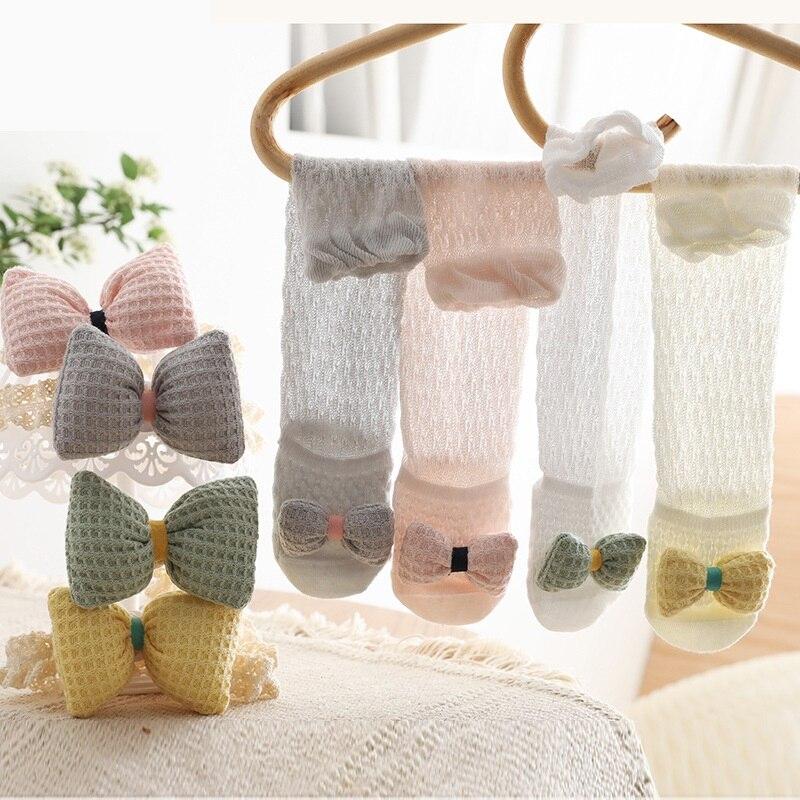 Summer thin Lovely Infant Baby Girls Knee High Socks Toddler Kids Tights Leg Warmer Ribbon Bow Solid Cotton Stretch Kids Socks