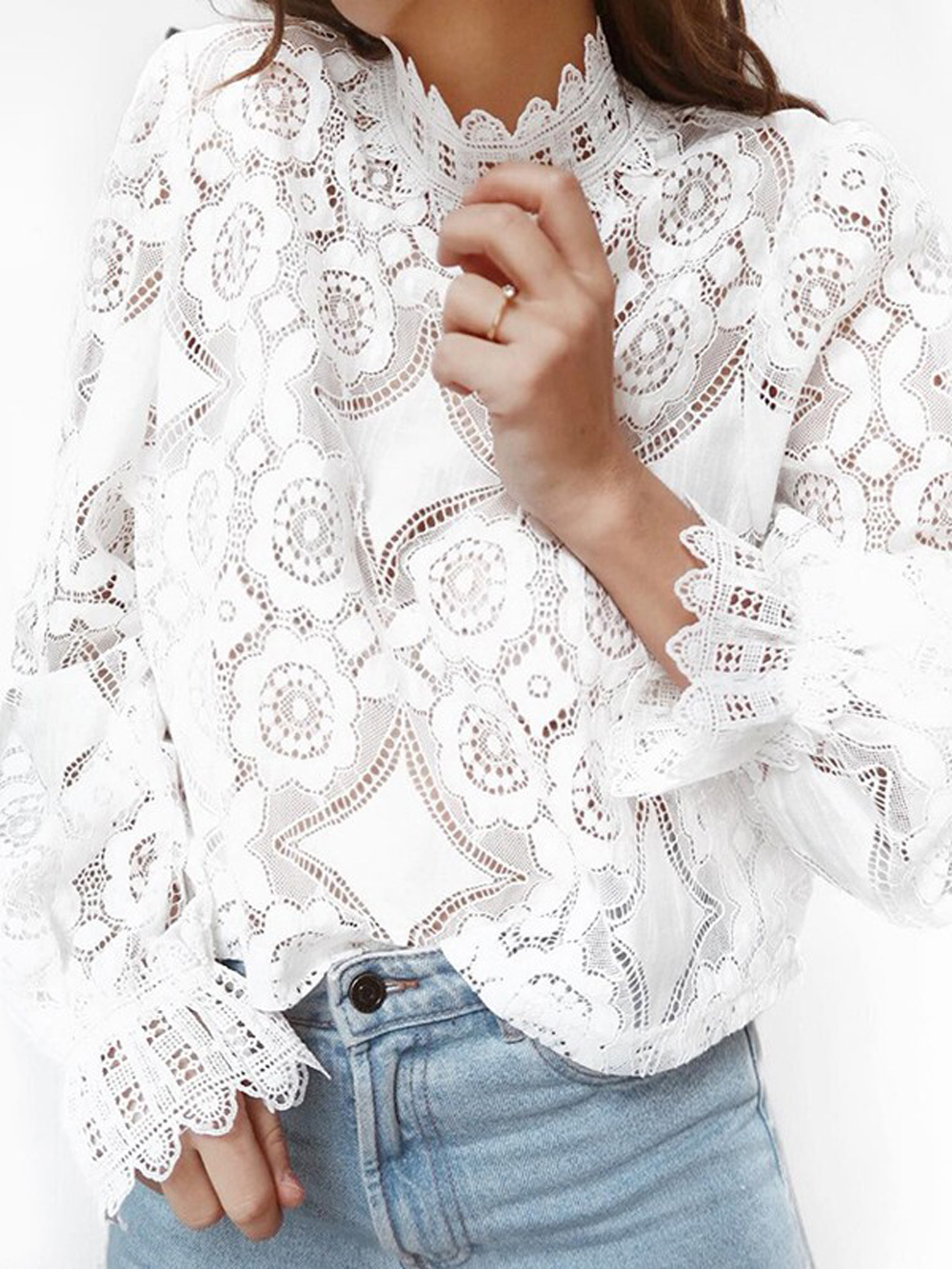 New Fashion Womens Lace White Tops Hallow Out Blouse Casual Bell Long Sleeve Pullover Shirts
