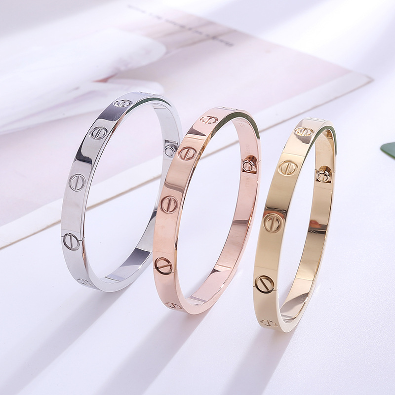Ze Xinyuan Fashion Elegant Titanium Steel Rose Gold Card Home Couples Bracelet Eternal Ring Couples Titanium Steel Bracelet