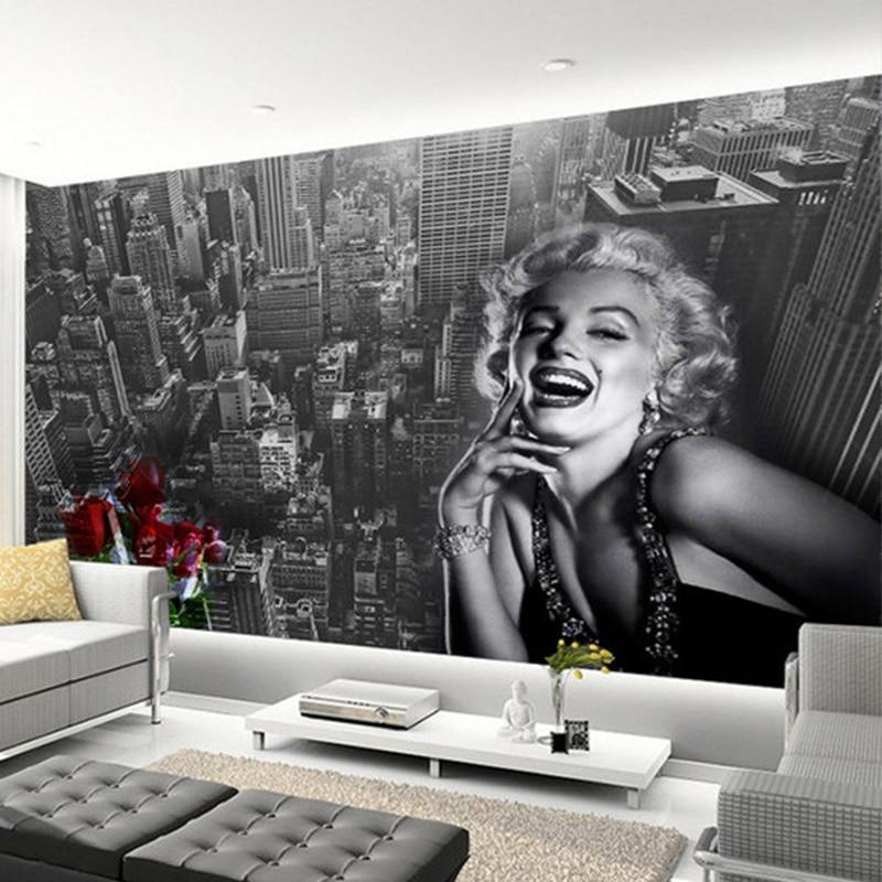 Modern Simple Black And White Building Marilyn Monroe Photo Wallpaper Living Room Restaurant Shopping Mall Decor Mural 3D Fresco