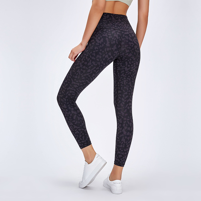 Women High Waist Printed Color Yoga Naked-feel Squatproof Leggings Tummy Control Workout Running Leggings 4 Way Stretch Tight