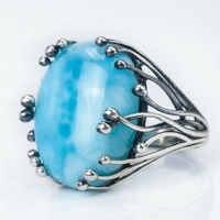 Natürliche Larimar 925 silber ring blau CopperPectolite große edelstein ringe oval 15X20mm sowohl für frauen mann design edelstein edlen schmuck
