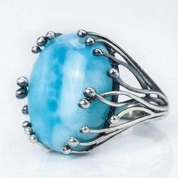 Natural Larimar 925 anillo de plata azul CopperPectolite anillos grandes de piedras preciosas oval 15X20mm para ambas mujeres hombre diseño gema joyería fina