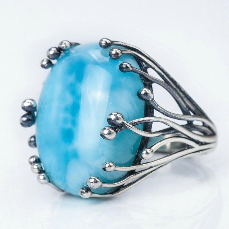 Naturel Larimar 925 argent bagues pour femmes bleu Larimar pierre précieuse homme grands anneaux fine bijoux ouverture bague design gemme ovale 15X20mm