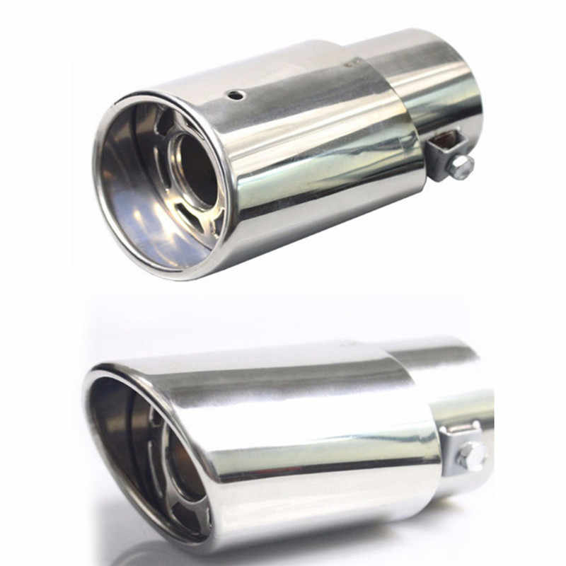 1pair Chrome Trim Modified Car Liner Pipe Stainless Steel Car Exhaust Muffler Tip Pipe  Exhaust System