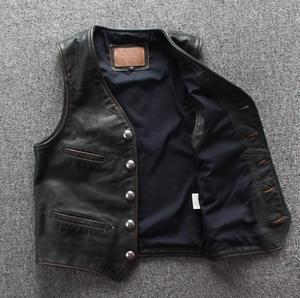 Image 3 - Men Cowhide Genuine Leather Vest  Motorcycle Biker Leather Vests Mens Real Leather Vintage Casual Sleeveless Jackets Waistcoat