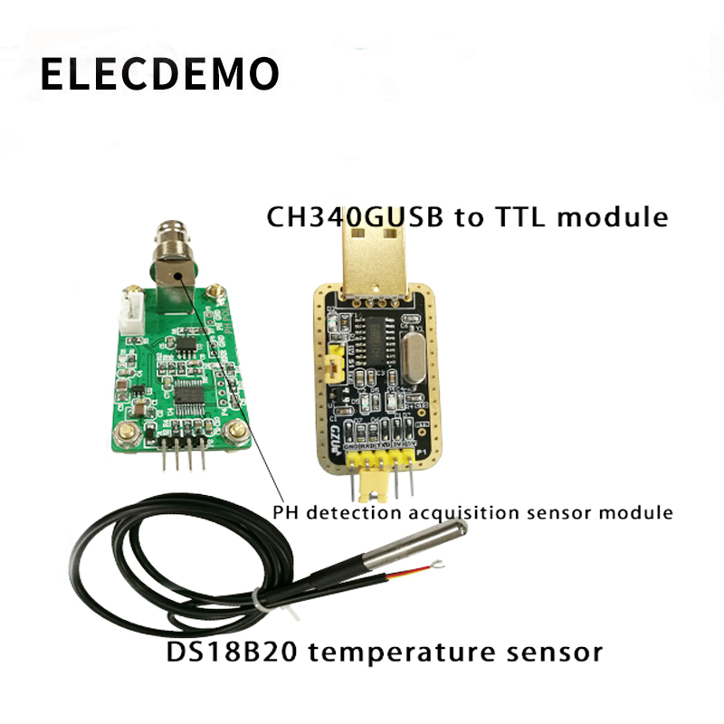 Купить с кэшбэком PH value detection acquisition sensor module pH sensor water quality detection control serial output