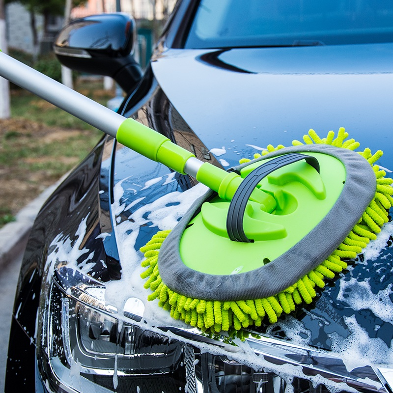 Car Wash Brush Cleaning Mop Chenille Broom Adjustable Telescoping Long Handle Car Cleaning Tools Rotatable Brush Car Accessories title=