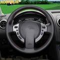 AOSRRUN Freies Verschiffen Hand nähen alle leder lenkrad abdeckungen für Nissan Qashqai J10 X-TRAIL NV200 2008-2012 Auto-Styling