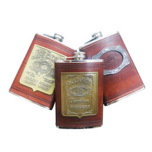 New hot sale 9 ounce Stainless steel hip flask Whisky Moscow Vodka flagon with pu leather Wrapping Liquor