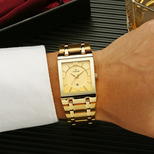 Relogio Masculino WWOOR Gold Watch Men Square Mens Watches Top Brand Luxury Golden Quartz Stainless Steel Waterproof Wrist Watch 5