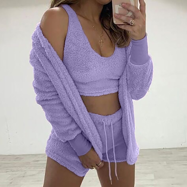 Three Piece Sexy Fluffy Outfits Plush Velvet Hooded Cardigan Coat+Shorts+Crop Top Women Tracksuit Sets Casual Sports Sweatshirt 3