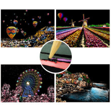 21*30cm 5PC DIY City Premium Enchanted Scratch Painting Art Adult Kits Architecture Craft Drawing Toys Birthday Christmas Gifts
