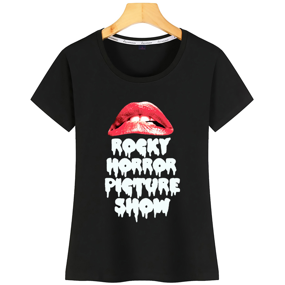 Tops T Shirt Women Rocky Horror Picture Show Lips Basic Black Short Tshirt